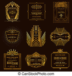 Save the Date - Set of Wedding Invitation Cards - Art Deco...