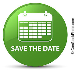 Save the date soft green round button