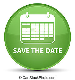 Save the date special soft green round button