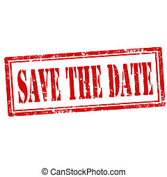 Save The Date-stamp - Grunge rubber stamp with text Save The...