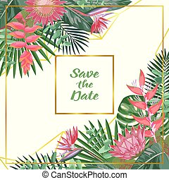 Save the Date Tropical Flower and Geometric Background