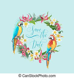 Save the Date Tropical Flowers and Birds Card - for Wedding, Invitation, Party - in vector