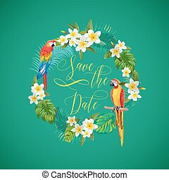 Save the Date Tropical Flowers Card - for Wedding, Invitation, Party - in vector