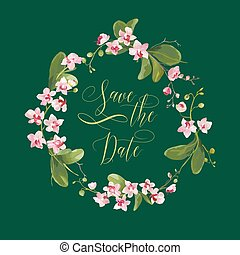 Save the Date Tropical Orchid Flowers Card, for Wedding, Invitation, Party in vector