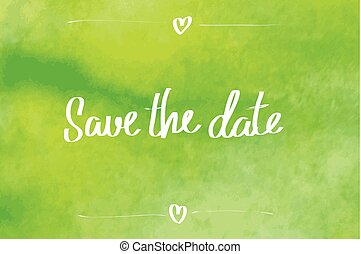 Save the date typographic green