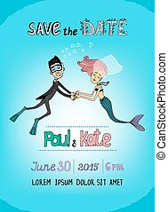 Save The Date underwater themed card