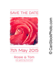 Save the date watercolour rose
