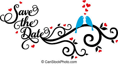 Save the date wedding birds with red hearts, vector illustration