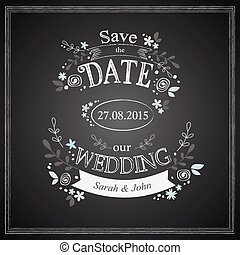 Save the date wedding card - Save the date vintage wedding...