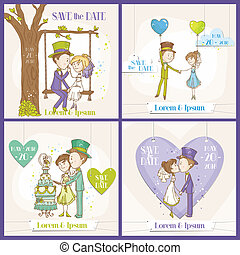 Save the Date Wedding Card Set - Bride and Groom Couple - in vector
