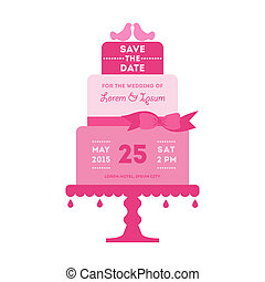Save the Date - Wedding Card with Cake - with place for your text - in vector