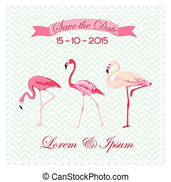 Save the Date - Wedding Card with Flamingo Birds - in vector