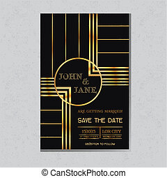 Save the Date  - Wedding Invitation Card in Art Deco Design - in vector