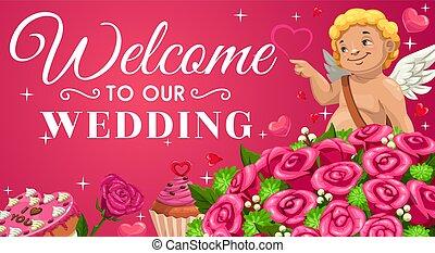 Save the date, wedding invitation. Cupid, flowers