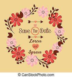 save the date wedding invitation design template floral frame