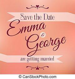 Save the date. Wedding invitation.