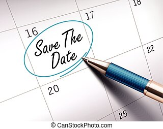save the date words circle marked on a calendar by a blue...