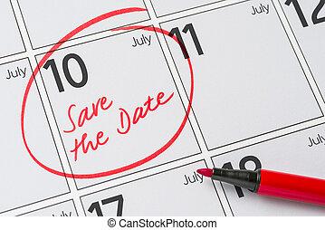 Save the Date written on a calendar - July 10