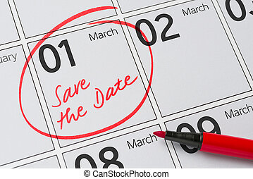 Save the Date written on a calendar - March 1
