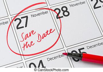 Save the date written on a calendar - november 10