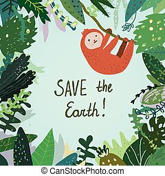Save the Earth card with tropical forest, nature and animal