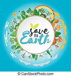 Save the Earth concept, Vector Illustration