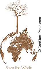 Save the earth, Dry tree on globe