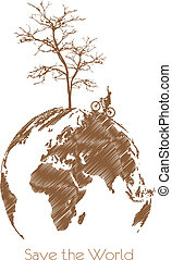 Save the earth, Dry tree on globe.