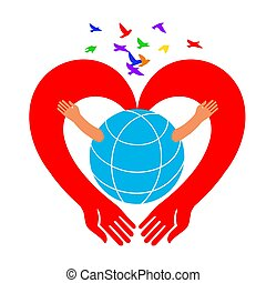 Save the Earth icon. Hands in the form of a heart hug the globe.