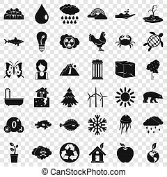 Save the earth icons set, simple style
