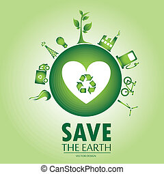 save the earth over green background vector illustration