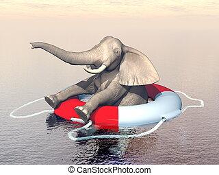 Save the endangered elephants concept - 3D render