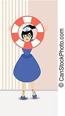 Save the helper. Lifebuoy throw a sailor