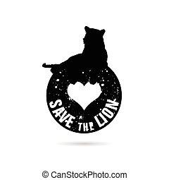 save the lion symbol in black color illustration