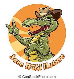 Save the nature logo design with alligator