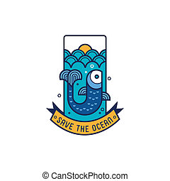 Save the ocean icon with fish