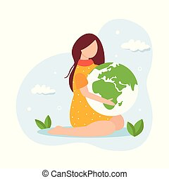 Save the planet concept. Young girl holding globe