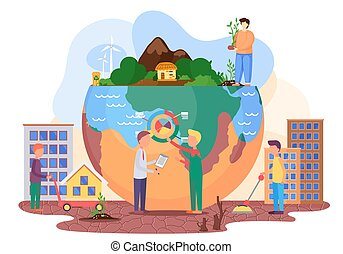 Save the planet design. People try to cure the planet. Plan to save the Earth from pollution