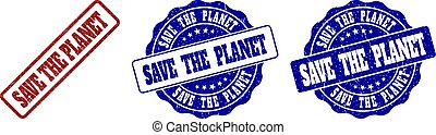 SAVE THE PLANET Grunge Stamp Seals