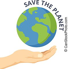 Save the planet. Hand palm, Earth