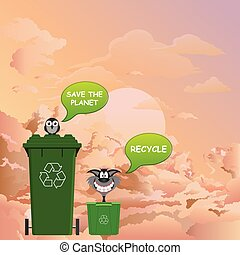 Save the planet message - Comical recycle and save the ...