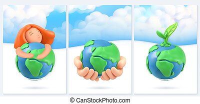 Save the planet. Nature and ecology background. 3d vector poster design