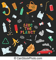 Save the planet vector poster.
