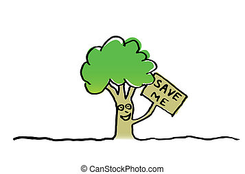 Save the tree vector illustration