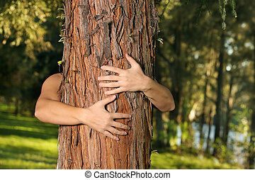 Save the trees - A treehugger conservationist with arms ...