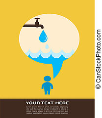 save the water poster with raining tap
