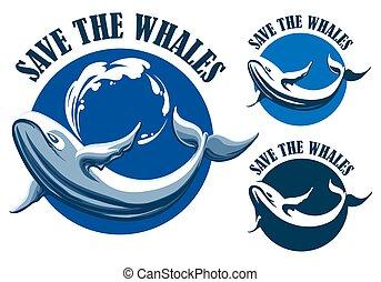 Save the whales emblem set
