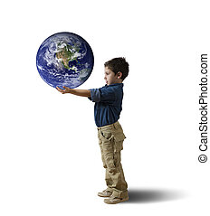 Save the world concept - Young child try to save the world