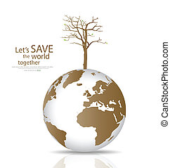 Save the world, Dry tree on a deforested globe. Vector...
