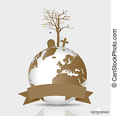 Save the world, Dry tree on a deforested globe. Vector illustration.